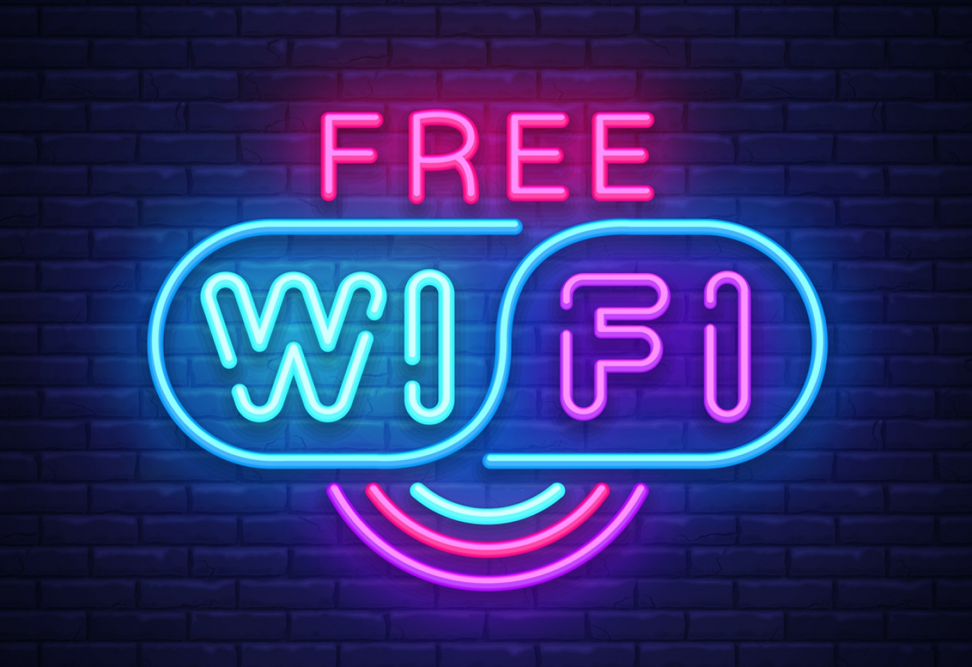 Neon sign that says free wi-fi