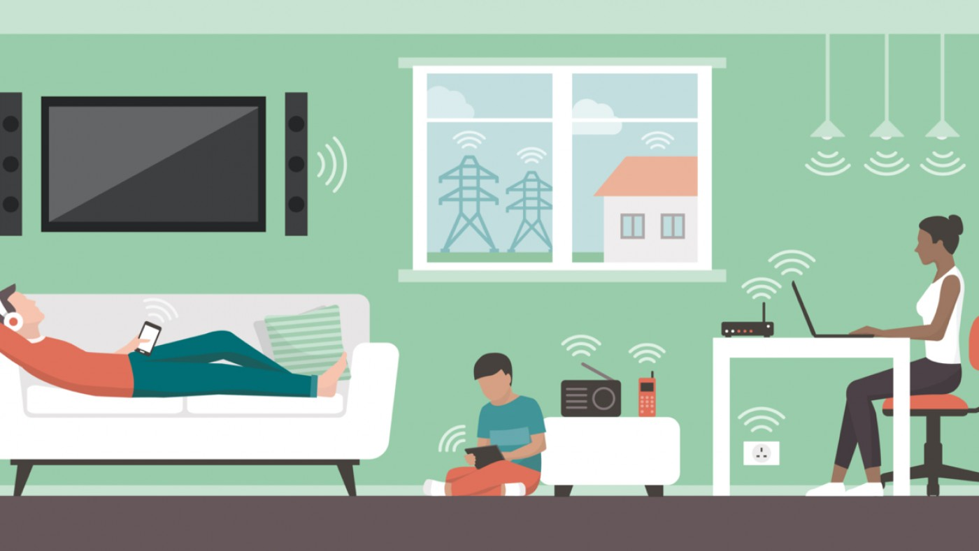 Illustrated family using wifi at home