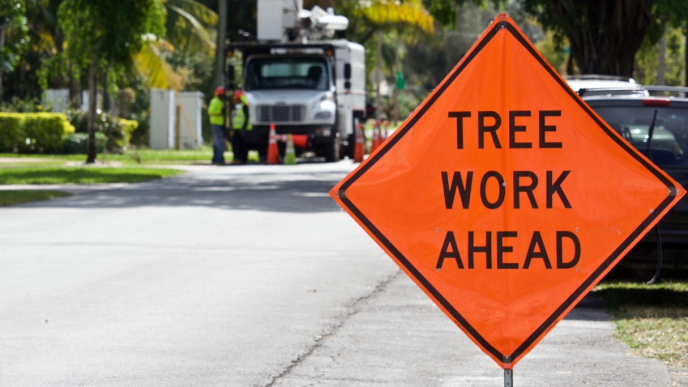 Road work sign for tree trimming ahead