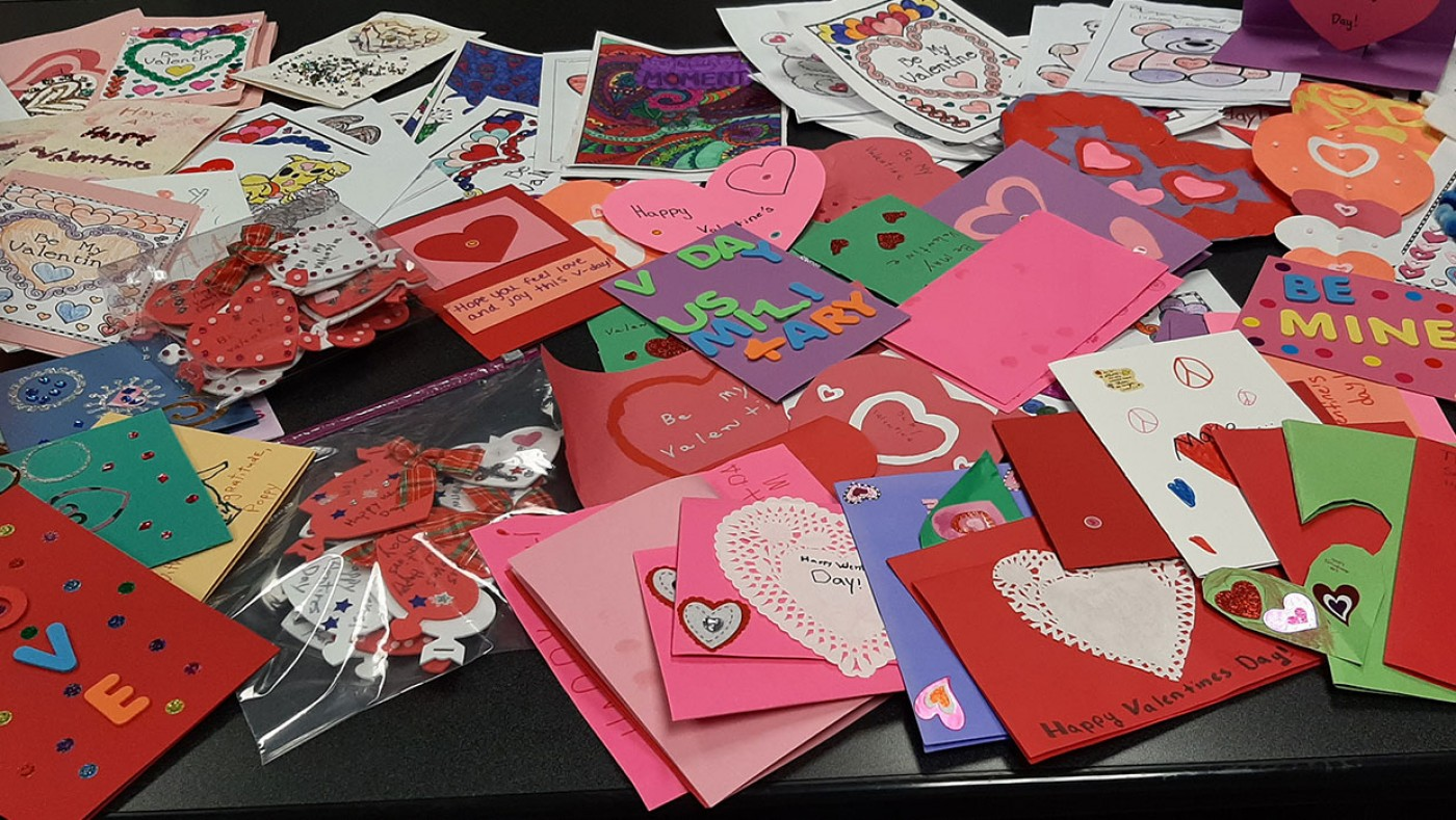 Pile of valentines day cards