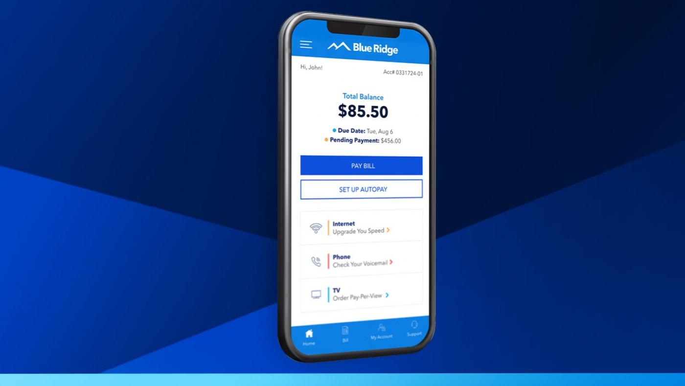 billing screen in the blue ridge app