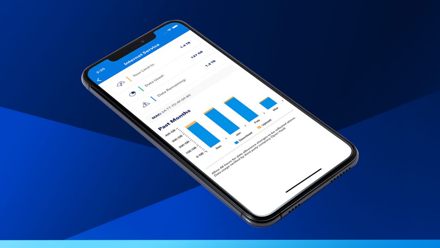 data usage screen in the blue ridge app