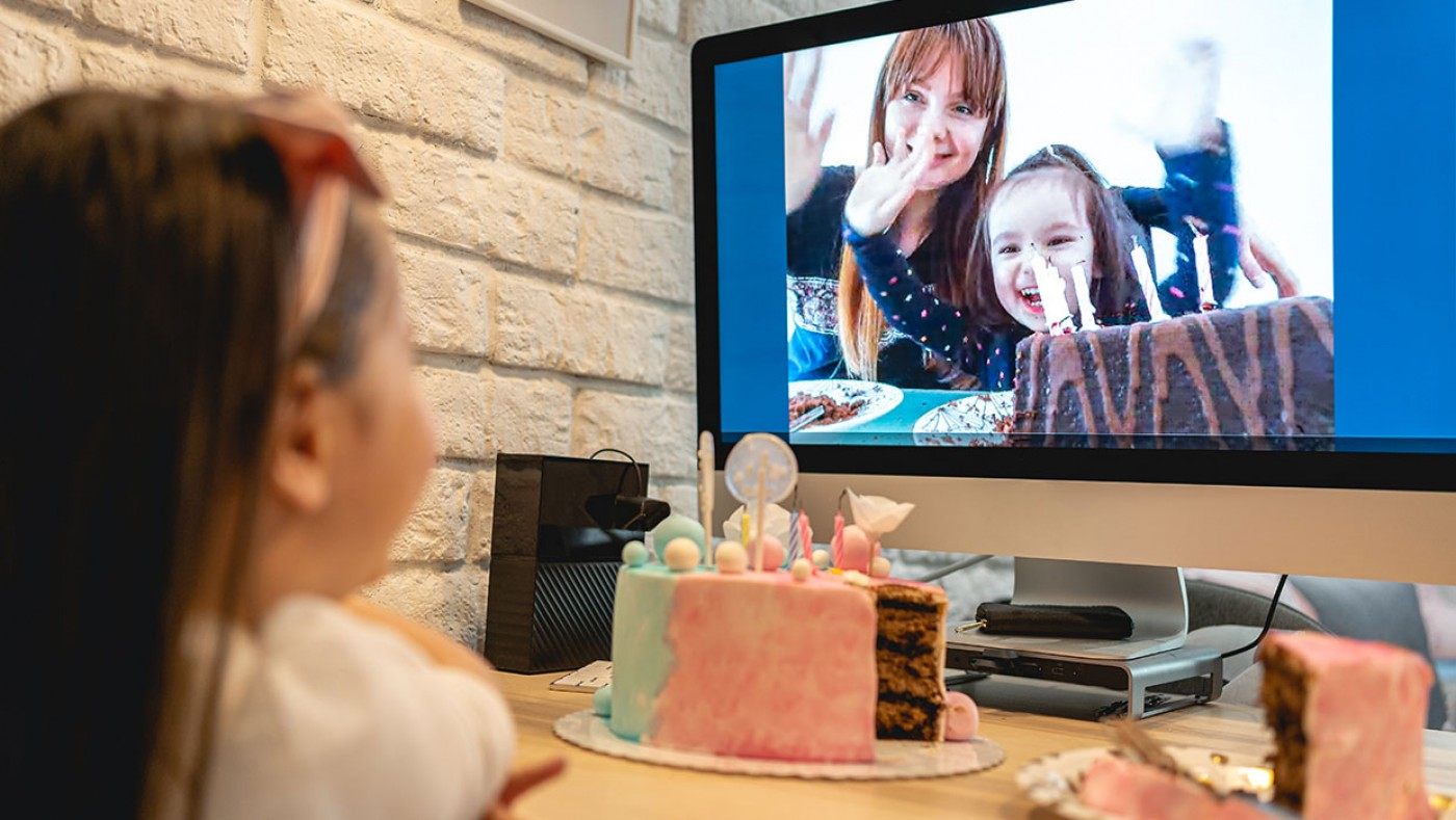 young girl having a virtual birthday party